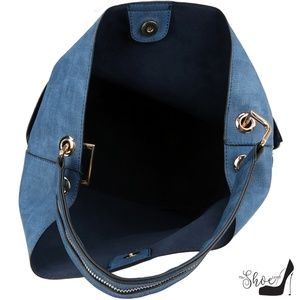 My Bag Lady Online Bags - Large Vegan Leather Bucket SET w Side Zip Pockets